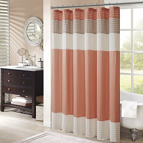 Madison Park MP70-2319 Amherst Shower Curtain 72x72 Coral (Renewed)