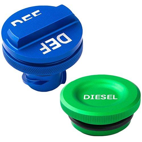 DEDC Billet Aluminum Green Fuel Cap Magnetic and Blue DEF Cap for Dodge Ram Cummins 2013-2017 Auto Parts - Blue Billet Gas Cap