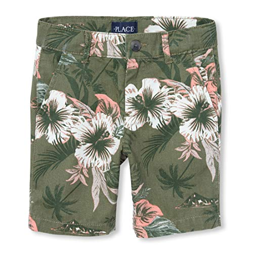 (The Children's Place Boys' Big Graphic Printed Chino Shorts, grasslands, 8)