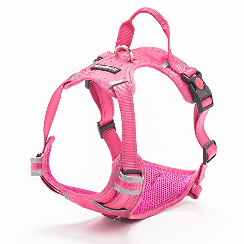 INVENHO Dog Harness Reflective Adjustable No Pull Pet Vest Oxford Vest for Dogs Easy Control for Small Medium Large Extra Dogs(L,Pink)