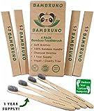 Premium Organic Bamboo Toothbrush - 100% Natural Bamboo BPA Free Soft Medium Charcoal Bristle 4 Pack Biodegradable by - Bambruno