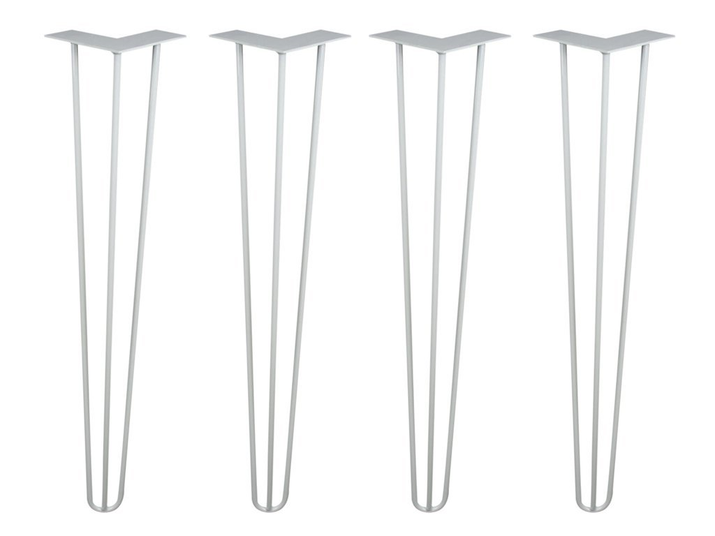 Hairpin Legs Set of 4 - Cold Rolled Steel - Raw and Color Available - Made in The USA (28'' Tall, 1/2'' Diameter - White Powder Coat- Shipped as Set of 4 Legs)