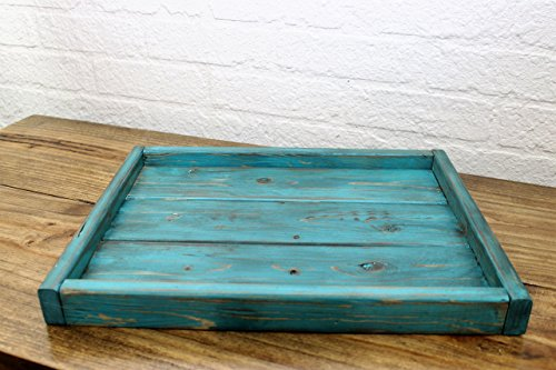 Small Low Profile Turquoise Serving Coffee Table Tray Rustic Decor