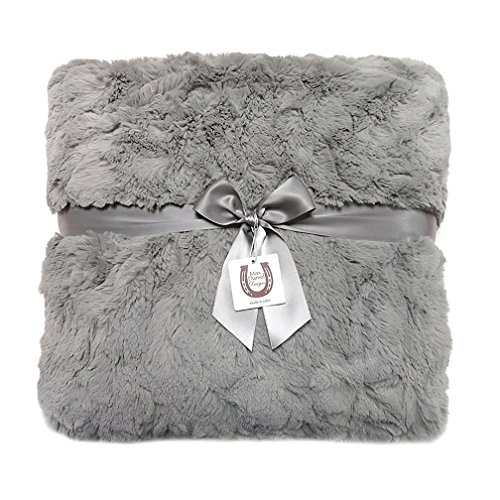 Max Daniel Luxe Gray Bunny Adult Throw - Double-Sided - P...