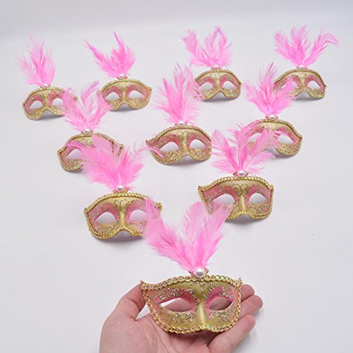 Cute Masquerade Masks (Mini Masquerade Mask Party Decoration - Yiseng 12pcs Feather Party Small Mask Girl Favors Novelty Birthday Gifts (pink))