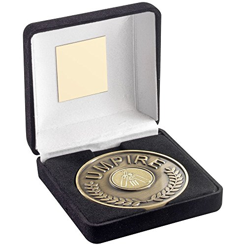 Lapal Dimension BLACK VELVET BOX AND 70mm UMPIRE MEDALLION WITH CRICKET INSERT - ANTIQUE GOLD - by Lapal Dimension