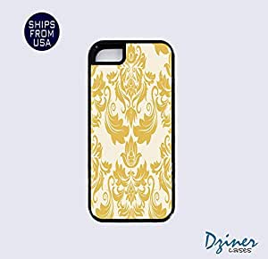 iPhone 5 5s Tough Case - Yellow Damask Pattern iPhone Cover