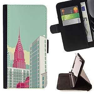 Momo Phone Case / Flip Funda de Cuero Case Cover - York Empire Building Art Poster - HTC One A9