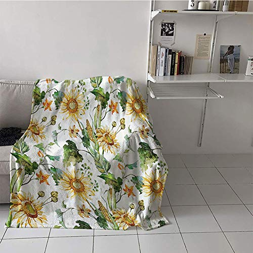 Children's blanket Print Summer Quilt Comforter (70 By 90 Inch,Sunflower Decor Collection,Sunflowers and Corn Pattern Agriculture Cultivating Nature Art Close Up Design Print,Soft Green Yellow) ()