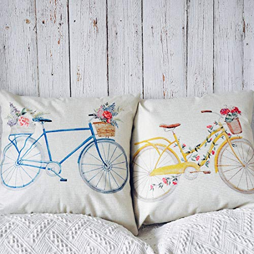 PANDICORN Set of 2 Spring Summer Farmhouse Decorative Throw Pillows Covers, Rustic Yellow Blue Bicycle Throw Pillow Cases with Colorful Floral for Outdoor Porch, 18 x 18 Inch (Floral Print Couch)