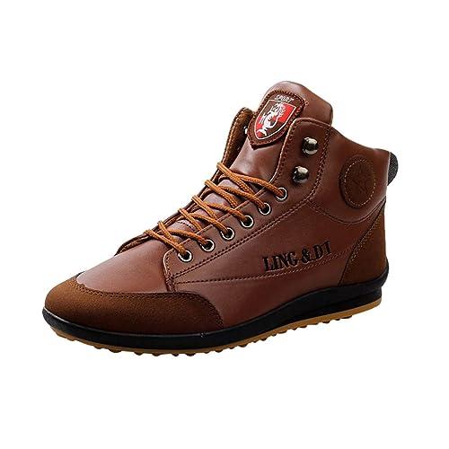 2018 Botines de Cuero de los Hombres Atan para Arriba los Zapatos Casuales Botas de Martin Zapatos de los Hombres Calzado Informal: Amazon.es: Zapatos y ...