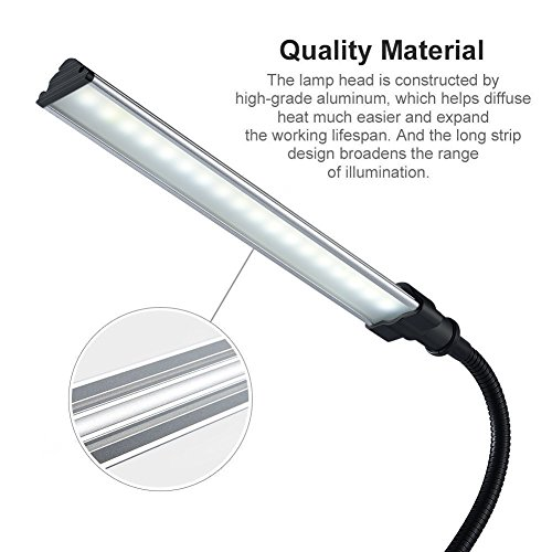 LED Clip Lamp, Portable Lighting Eye-Care Clip Desk Light Powered by USB ( Clip-On Light )-Black Color by Swiftrans (Image #5)