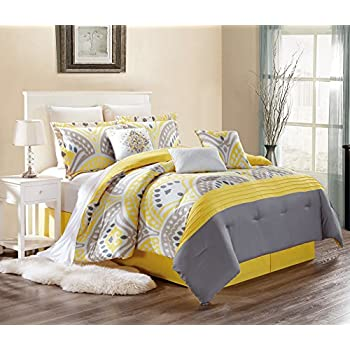 d2e85164f68f Modern 7 Piece Embroidered CASSANDRA Bedding SUNSHINE YELLOW / GREY / WHITE  / GREY Pin Tuck KING Comforter Set with accent pillows