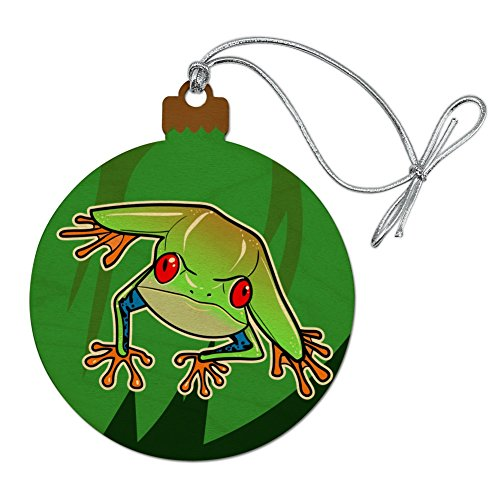 (GRAPHICS & MORE Tree Frog on Leaf Wood Christmas Tree Holiday Ornament)