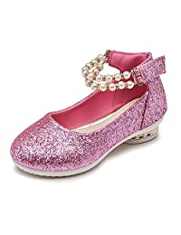 Bumud Girls Sequin Pearl Decor Ankle Strap Ballerina Flats Shoes (Toddler/ Little Girl)