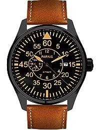 44mm Black Dial Orange Marks Sapphire Luminous Japan Miyota 82S5 Automatic Movement Men's Pilot Watch