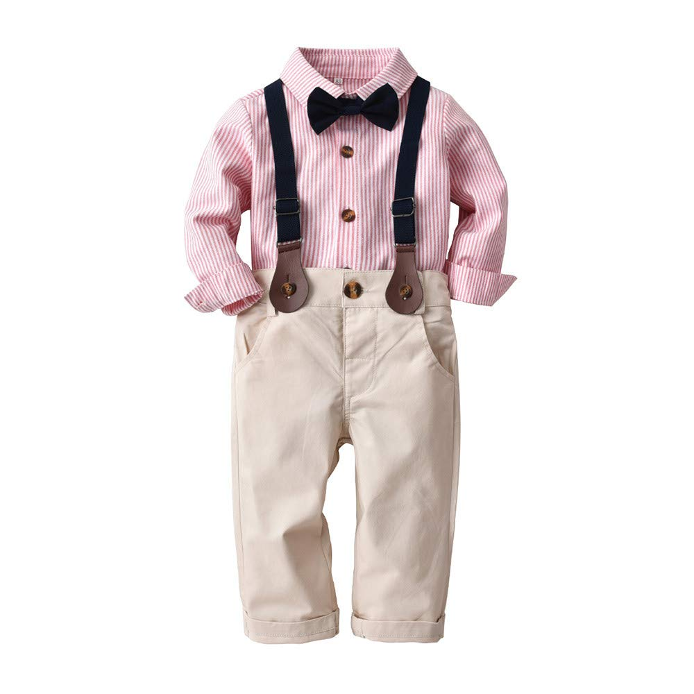 CQO Toddler Clothes Set, Boys' 2-Piece Gentleman Bowtie Shirt,Pant,Outfit Clothes 0-3 T Boys' 2-Piece Gentleman Bowtie Shirt ✿✿---------------------------✿✿
