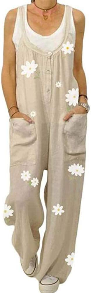 Peto para Mujer - Peto Elegante con Estampado de Flores de Margarita Mono de algodón con Estampado Floral de Verano Mono Holgado de algodón: Amazon.es: Ropa y accesorios
