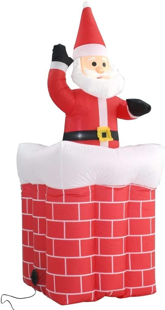 Festnight Papá Noel y Chimenea Inflables con Movimiento y LED IP44 180cm Navidad Decoración con Leds Luces de Exterior Interior