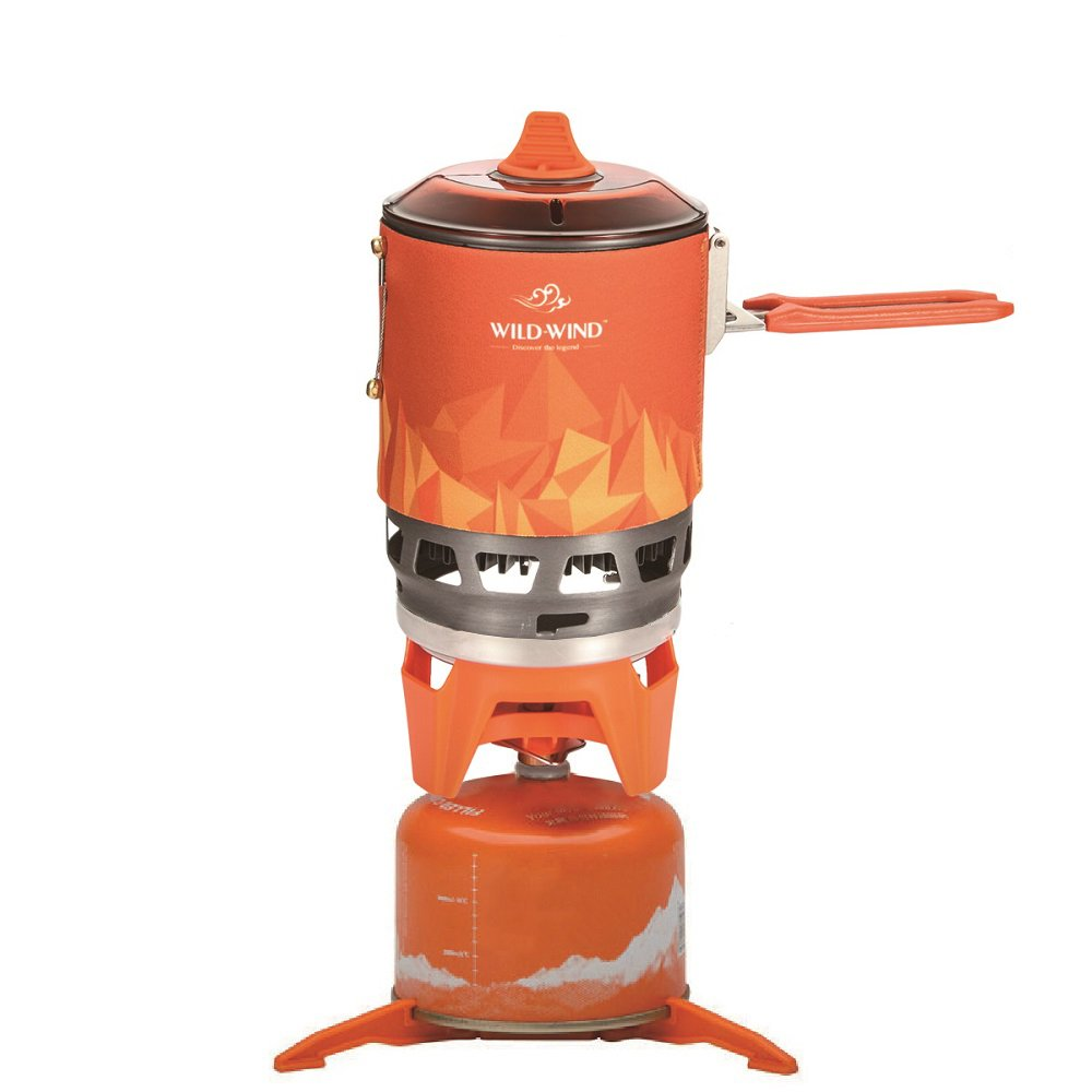WILD-WIND Star X3 Outdoor Cooking System Portable Camping Stove with Piezo Ignition Pot Support Stand – Ultralight Compact Windproof High Heating Efficiency – Propane Butane Canisters – Camping