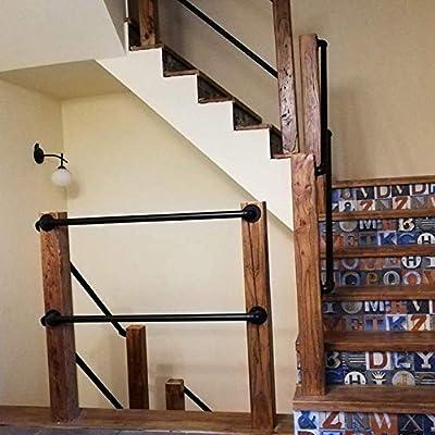 Home Barandilla Escalera para Interiores Y Exteriores | Pasamanos Escalera De Hierro Negro Moderno | Apoyabrazos De Tubo De Seguridad Antideslizante, Tamaño Personalizable: Amazon.es: Hogar