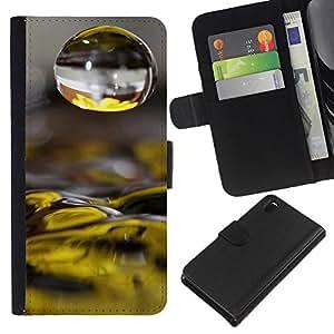 KingStore / Leather Etui en cuir / Sony Xperia Z3 D6603 / El agua caída de las flores amarillas