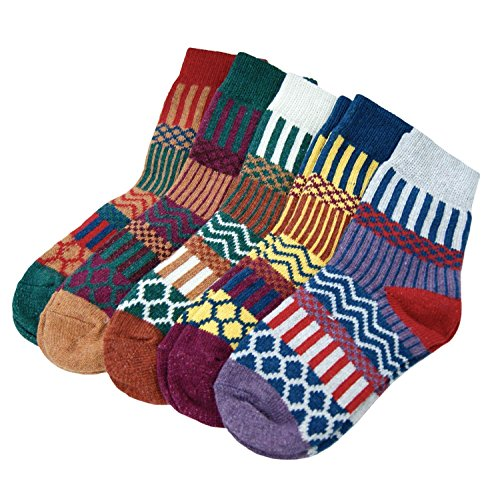 KOOYOL Womens Vintage Style Cotton Crew Socks 5 Pair Pack at Amazon Womens Clothing store: