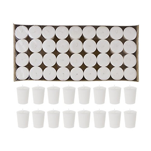 Mega Candles 72 pcs Unscented White Votive Candle | Pressed Wax Candles 15 Hours 1.5