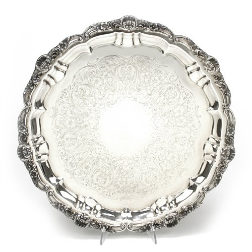 (Round Tray by Poole, Silverplate, Shell & Scroll)