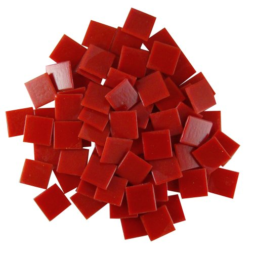 (Jennifer's Mosaics Red 3/4-Inch Venetian Style Glass Mosaic Tile, 8-Ounce)
