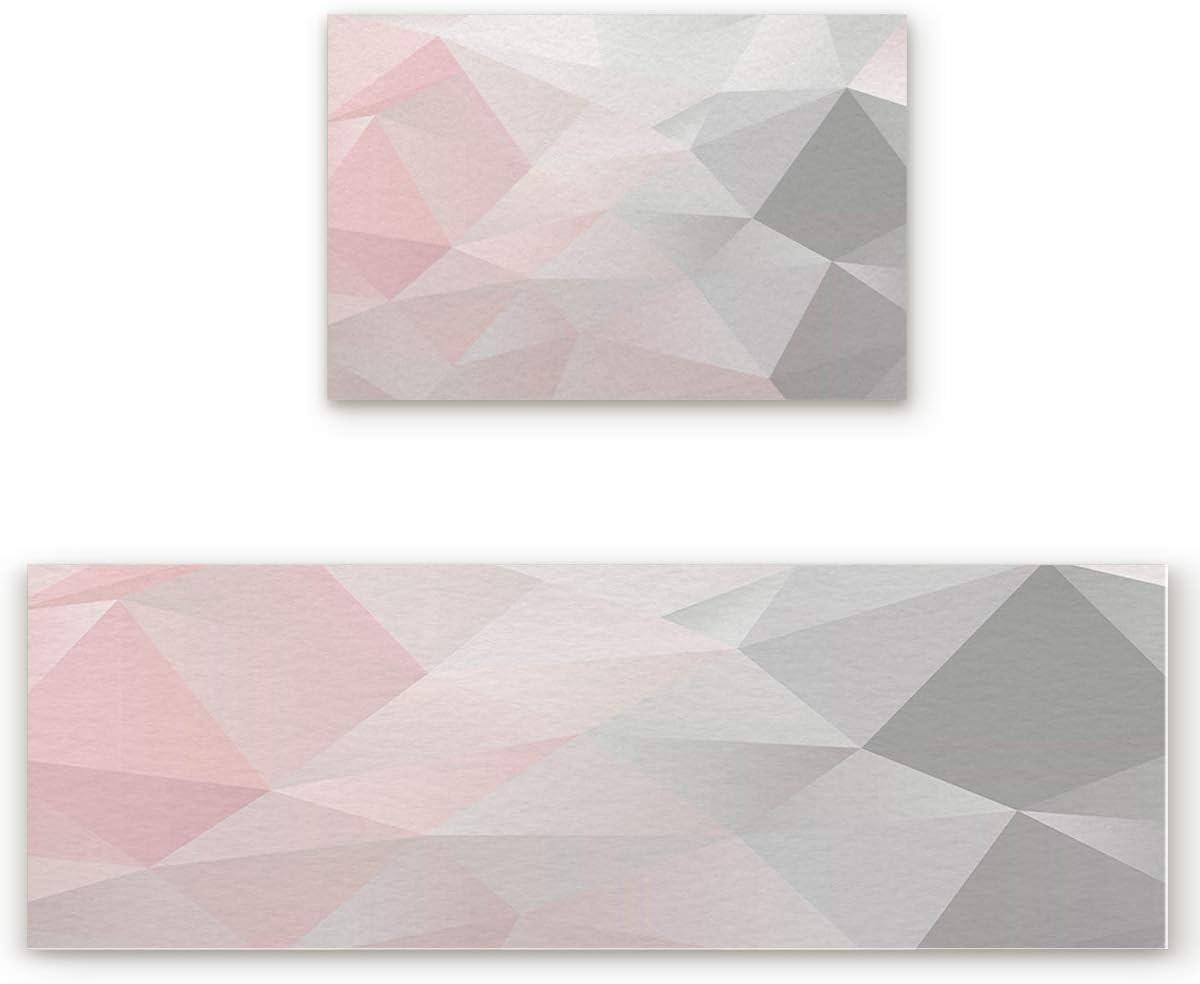 Kitchen Mat Set 2 Piece Kitchen Rugs, Pink Grey Gradient Geometry Triangle, Soft Waterproof Non-Slip Rubber Backing Floor Mats Doormat Bathroom Runner Area Rug Carpet, 15.7x23.6in + 15.7x47.2in