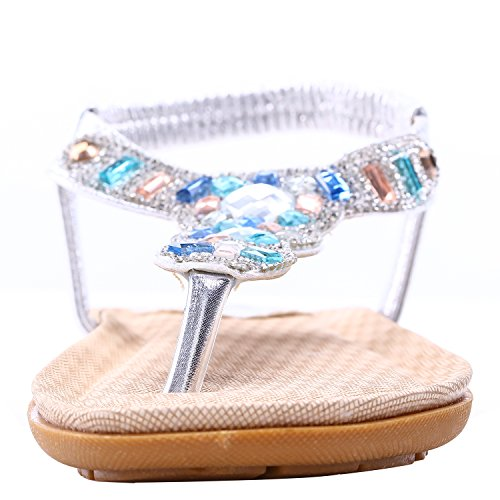 Womens Platform Wedge Sandals Bohemian Beaded Ethnic Style Shoes Thong Sandals (Shining Silver, 9 B(M) US/40EU) by NewYork Offer Shop (Image #2)