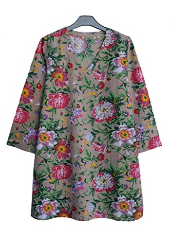 (Ayurvastram KRITIfloral Hand Block Printed Cotton V Neck Tunic: Floral Print Beige 1X)