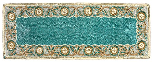 Linen Clubs Hand Made Beaded Table Runner 13x36 Inch in Rustic Teal Gold white colors,produced by skilled village Artisans in India - A Beautiful Complements to Dinner Table Decor Offered by (Beads Gold Teal)