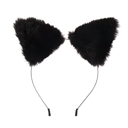 Amazon.com  Chinatera Fashion Girl s Cute Cat Fox Ears Faux Fur Headband  Party Costume Anime Cosplay (Black)  Arts c4dd49c772d