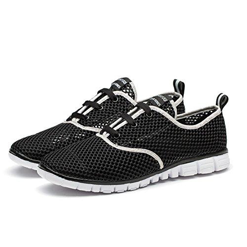 Tianui Herren Wasser Schuhe Mesh Slip auf leichten Casual Sneakers Schwarz