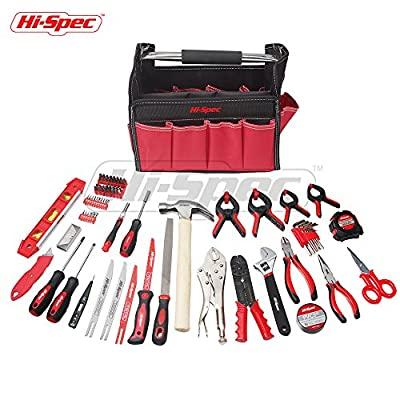 Hi-Spec 101pc Home Household & Garage Tool Set in Tool Bag Kit including Wide-Mouth Locking Pliers, Adjustable Wrench, Long Nose and Diagonal Pliers, Metal and Wood Saw, Crimpers, Screw Bits & More