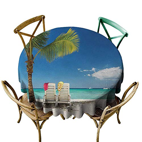 polyester round tablecloth 50 inch Seaside,Relaxing Scene on Remote Beach with Palm Tree,Chairs And Boats Panoramic Picture,Blue Green 100% Polyester Spillproof Tablecloths for Round Tables