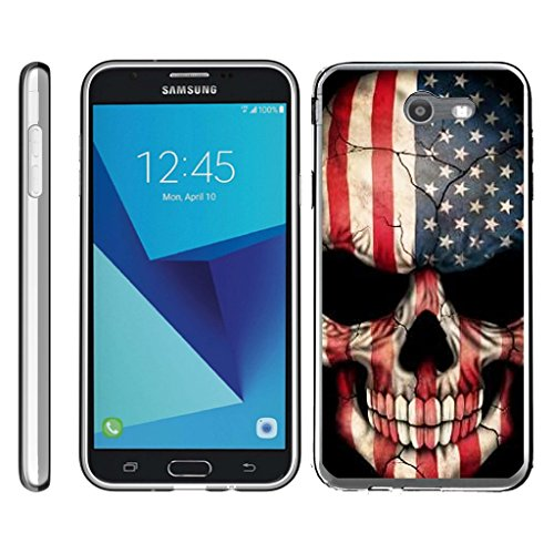 TurtleArmor | Samsung Galaxy J7 2017 Case | J7 V Case | J7 Prime | J7 Sky Pro [Flexible Armor] Flexible TPU Case Slim Fitted Soft Armor Cover - US Flag Skull (Case Skull Cover)