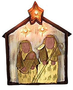 Country Christmas - Merry and Bright Natural Lighted Metal Nativity Scene Indoor Outdoor Freestanding Yard Stake