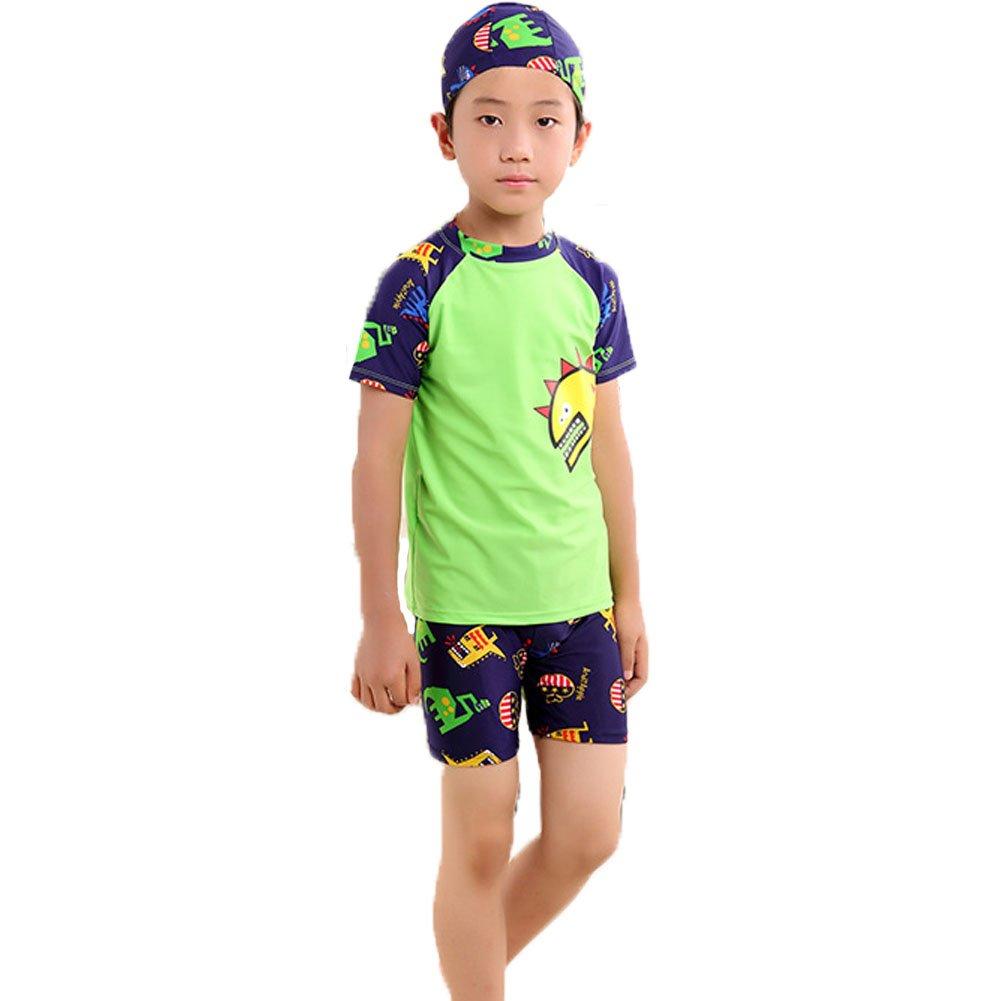 Monvecle Boys' 3-Pieces Short Sleeve Protective Rashgurad Swimsuit Set with Swim Cap UPF 50+