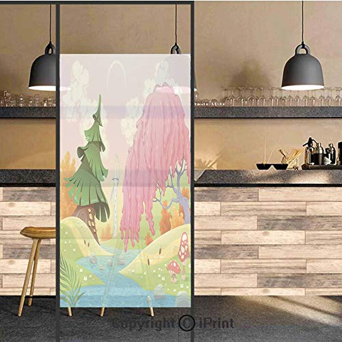 3D Decorative Privacy Window Films,Fantasy Landscape with Unusual Trees Riverside Drawing Spring Summer Season Print Decorative,No-Glue Self Static Cling Glass film for Home Bedroom Bathroom Kitchen -