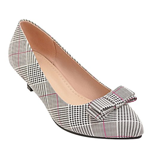 Charm Foot Womens Bows Kitten Heel Houndstooth Pumps Rosso