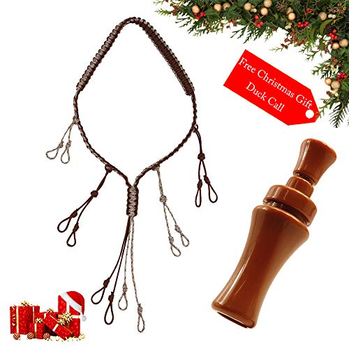 PSKOOK Duck Call Lanyard Paracord Hunting Goose Calls 12 Adjustable Loops Outdoor Predator Gear for Pheasant Waterfowl Hand Braided Necklace (Coffee + Duck Call) -
