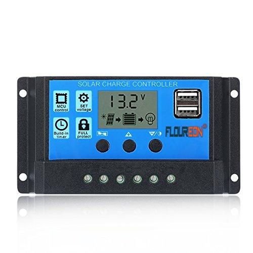 FLOUREON 30A 12V/24V Solar Charge Controller Solar Panel Controller...