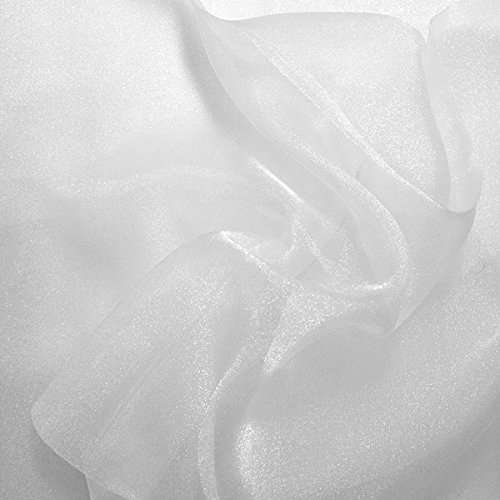 Sparkle Crystal Sheer Organza Fabric Shiny for Fashion, Crafts, Decorations 60 (White, 1 YARD)