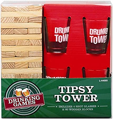 Invero Madera Borracho Drunken Torre Partido Adulto Bebidas Juego con 4x Vasos De Chupito Regalo Novedad: Amazon.es: Juguetes y juegos