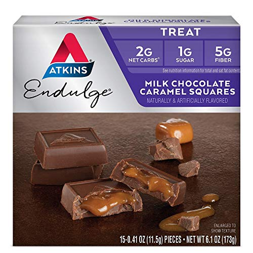 Atkins Milk Chocolate Caramel Squares. Delicious Low-Sugar Treats with Chocolate and Caramel. (15 Pieces)