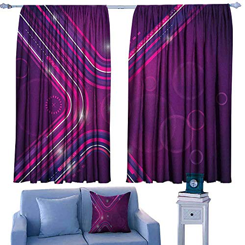 Eggplant Bocking Ight Rod Curtains Abstract Purple Parallel Lines in a Violet Environment with Transparent Circles,for Baby Bedroom,W42 x L63 Inch ()