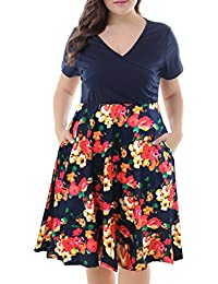 Women's V-Neck Print Pattern Casual Work Stretchy Plus...